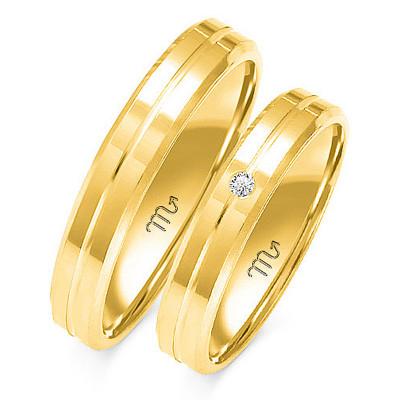 Obrączki ślubne z białego złota z kunsztownym nacięciem