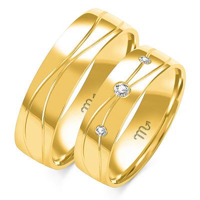 Eleganckie złote obrączki ślubne bogato zdobione