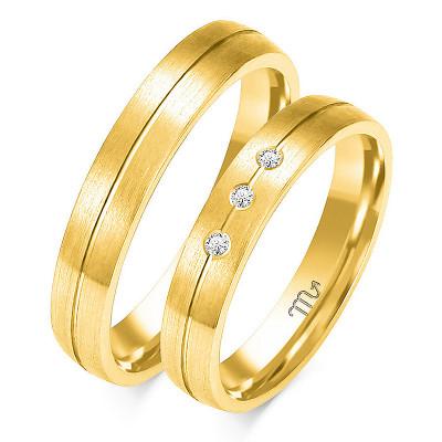 Obrączki ślubne z białego złota z finezyjnym nacięciem