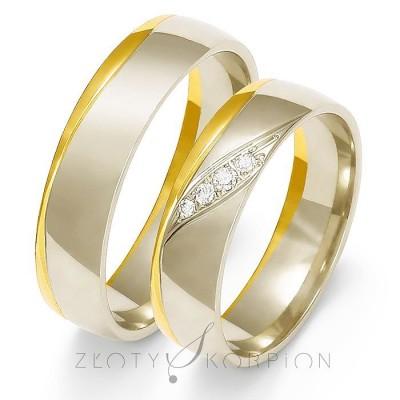 Dwukolorowe eleganckie obrączki ślubne z diamentami