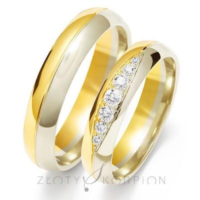 Dwukolorowe błyszczące obrączki ślubne