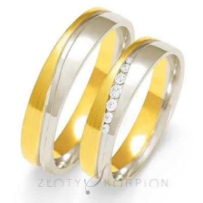 Dwukolorowe wytworne obrączki ślubne