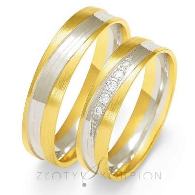 Dwukolorowe szykowne obrączki ślubne