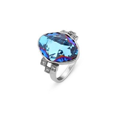 Pierścionek SPARK z kryształów Swarovski® w kolorze Aquamarine Metallic Blue