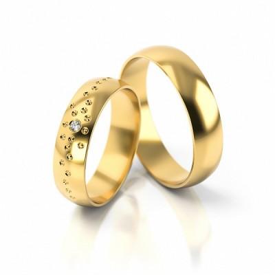 Obrączki ślubne z niezwykłym zdobieniem półokrągłe