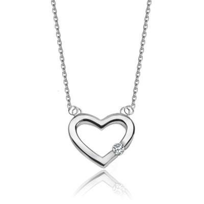 Uroczy srebrny naszyjnik celebrytka serce z cyrkonią