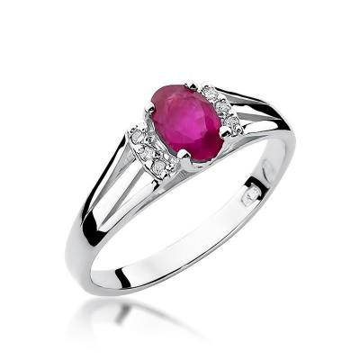 Okazały pierścionek zaręczynowy z rubinem i diamentami
