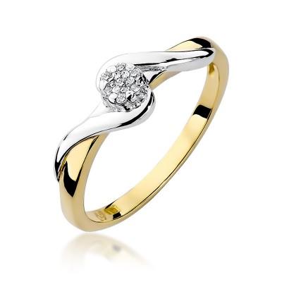 Fantazyjny złoty pierścionek zaręczynowy z białym złotem i diamentami