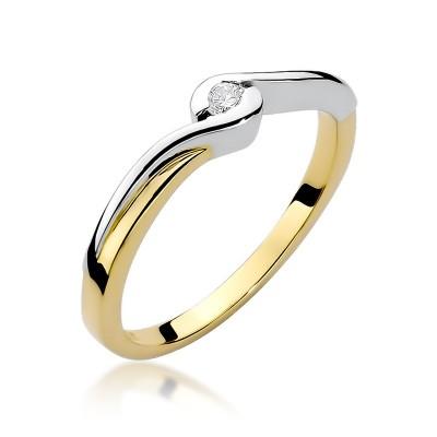 Wyszukany złoty pierścionek zaręczynowy przystrojony białym złotem i diamentem