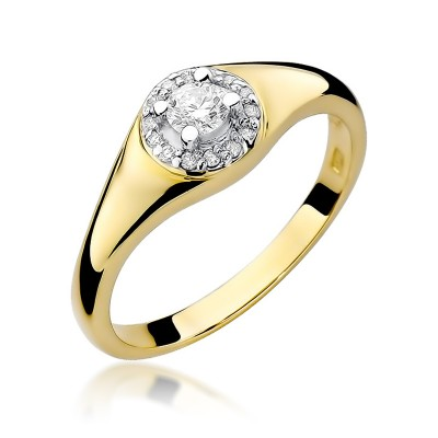 Wyszukany złoty pierścionek zaręczynowy ozdobiony diamentami