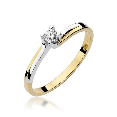 Niezwykły złoty pierścionek zaręczynowy z białym złotem ozdobiony diamentem
