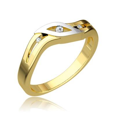 Wyrafinowany złoty pierścionek ozdobiony białym złotem i diamentami