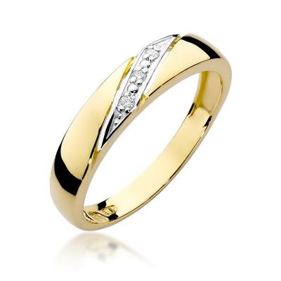 Elegancki złoty pierścionek z gustownie osadzonymi diamentami