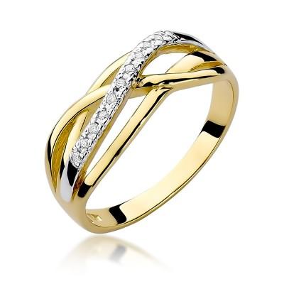 Efektowny złoty pierścionek przeplatany diamentami