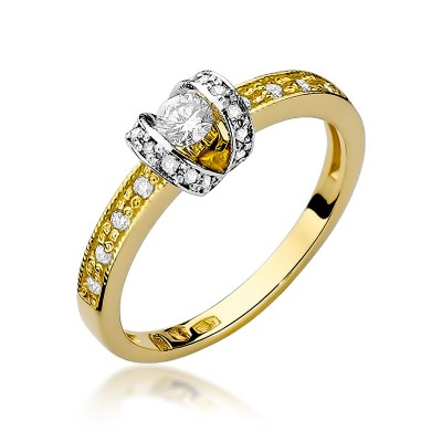 Oryginalny złoty pierścionek wysadzany diamentami