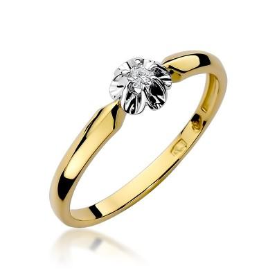 Szykowny złoty pierścionek zaręczynowy z brylantem