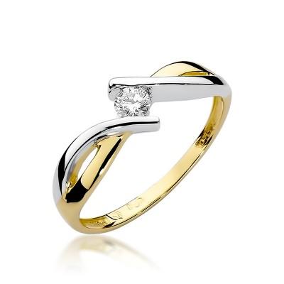 Niezwykły złoty pierścionek z diamentem