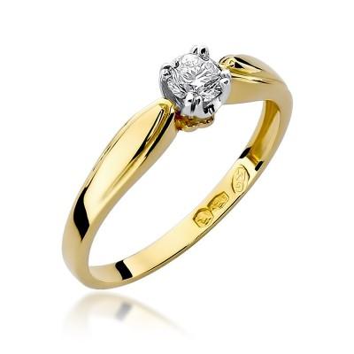 Okazały złoty pierścionek z brylantem