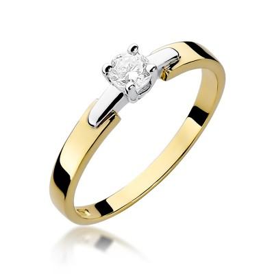 Urokliwy złoty pierścionek zaręczynowy z brylantem