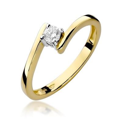 Oszałamiający złoty pierścionek zaręczynowy z brylantem