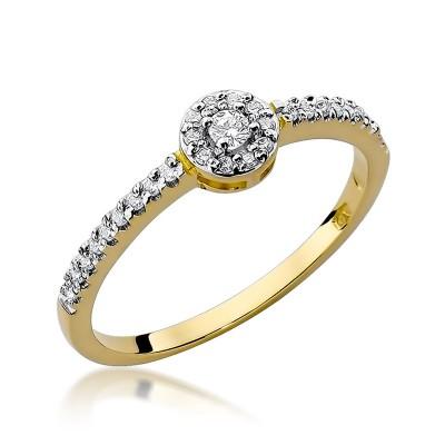 Urzekający złoty pierścionek zaręczynowy z diamentami