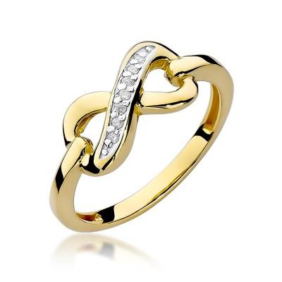 Złoty pierścionek ze znakiem nieskończoności i diamentami