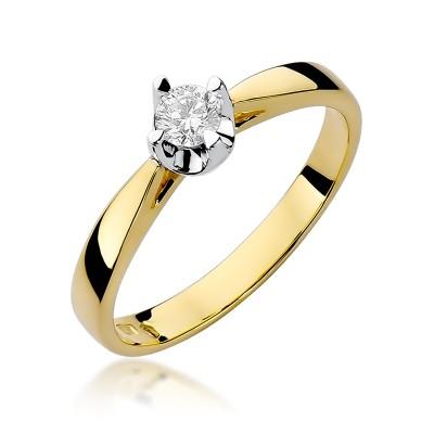 Urzekający złoty pierścionek zaręczynowy z okazałym brylantem