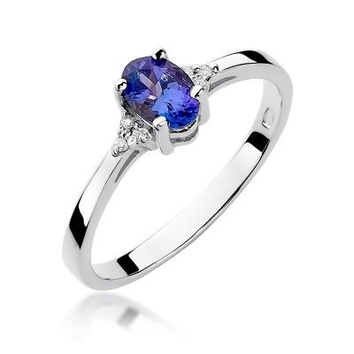 Śliczny pierścionek zaręczynowy z tanzanitem i diamentami