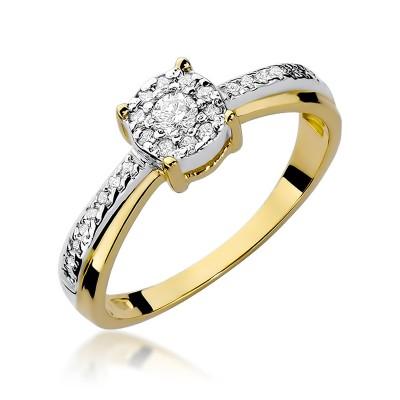 Lśniący złoty pierścionek zaręczynowy wysadzany diamentami