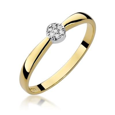 Subtelny złoty pierścionek zaręczynowy z brylantami