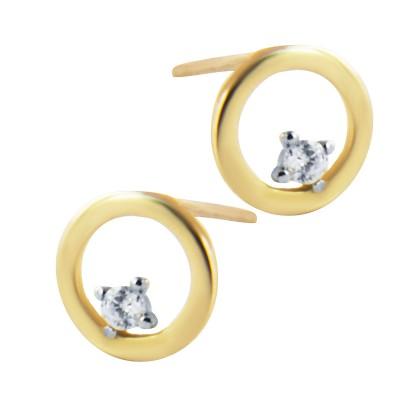 Subtelne złote kolczyki kółka z cyrkonią