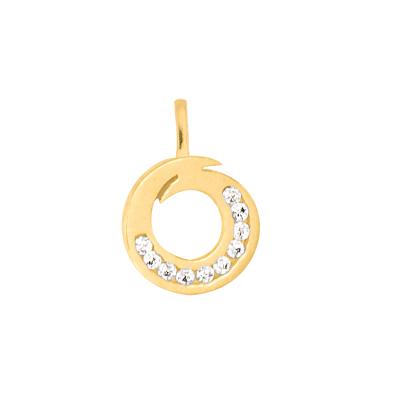 Złota zawieszka asymetryczne kółeczko z cyrkoniami