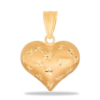 Złota zawieszka serduszko matowe ze zdobieniami