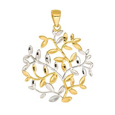 Złota zawieszka ażurowe kółko z listkami i białym złotem