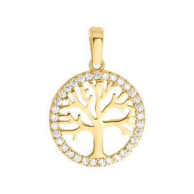 Złota zawieszka Drzewko Szczęścia kółeczko z cyrkoniami