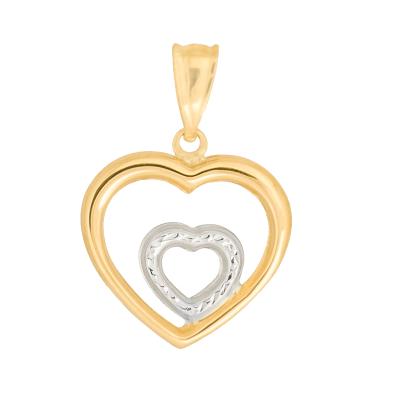 Złota zawieszka podwójne serduszko z białym złotem