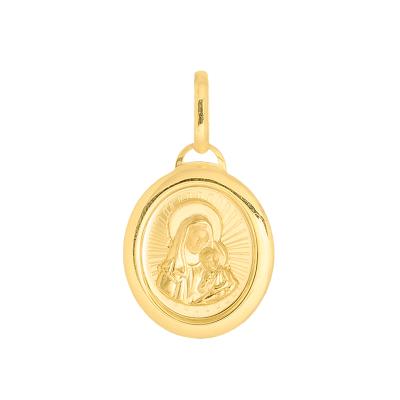 Złota zawieszka medalik owal Madonna z dzieciątkiem