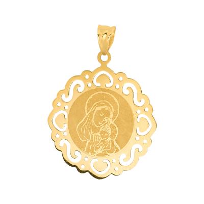 Złota zawieszka medalik z ażurowym zdobieniem