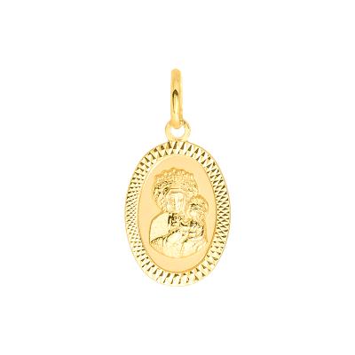Złota zawieszka medalik z Matką Boską Częstochowską owal
