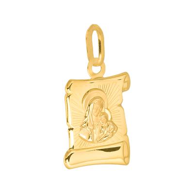 Złota zawieszka medalik w kształcie papirusu z Matką Boską i Dzieciątkiem Jezus