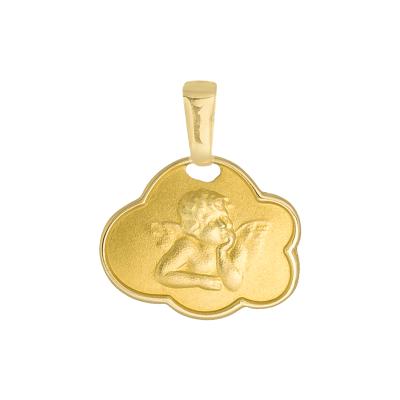 Złota zawieszka medalik Aniołek na chmurce