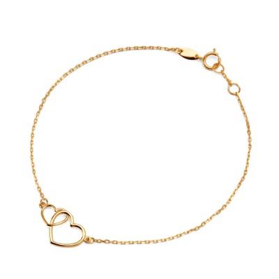 Złota bransoletka celebrytka z serduszkami