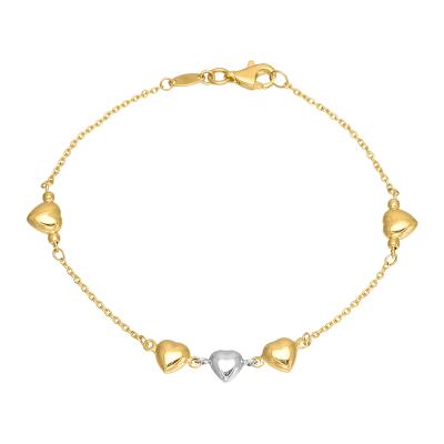 Złota bransoletka z Serduszkami i białym złotem