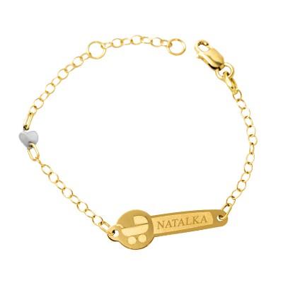 Urocza złota bransoletka dziecięca Prezent Grawer GRATIS