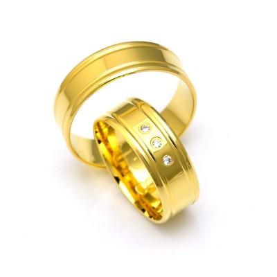 Obrączki ślubne złote z delikatnym zdobieniem