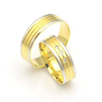 Obrączki ślubne złote z białymi krawędziami