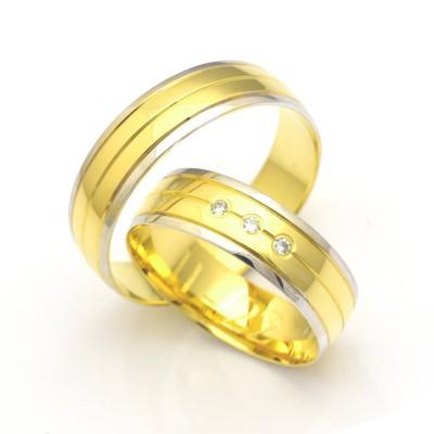 Obrączki ślubne złote dwukolorowe z ozdobnym nacięciem