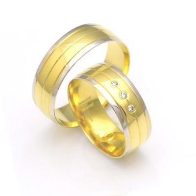 Szerokie obrączki ślubne polerowane z regularnym nacięciem