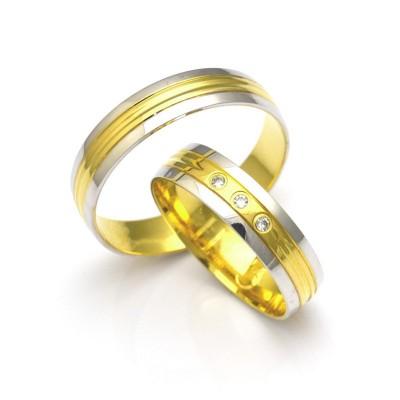 Dwukolorowe gustowne obrączki ślubne