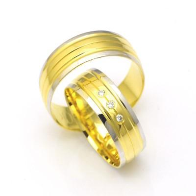 Obrączki ślubne złote półokrągłe żółto-białe